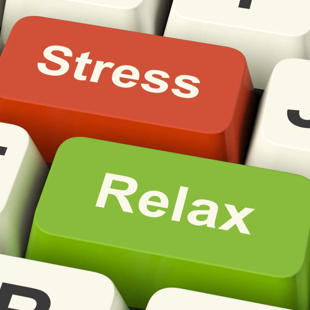 Stress Relax Computer Keys Shows Pressure Of Work Or Relaxation Online